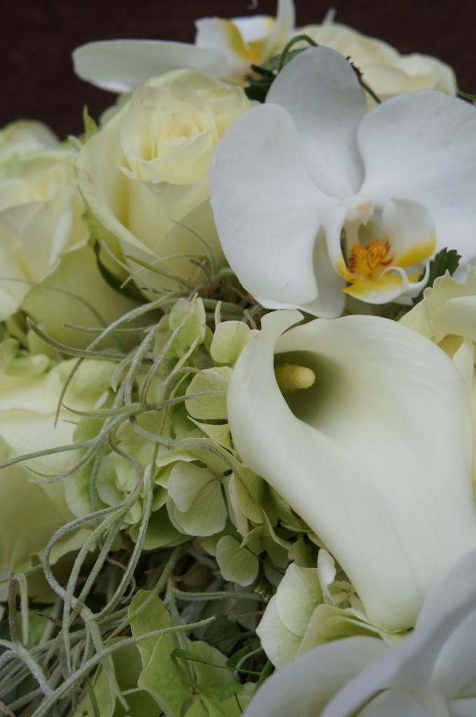 wurde aus einer Blumenauswahl von Rosen, Calla & Phalaenopsis